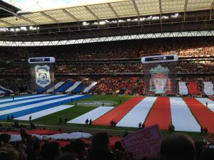 A shot of Wembley before a League Cup Final Match between Cardiff City and Liverpool