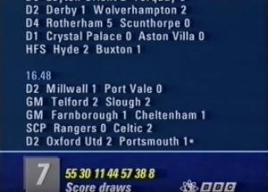 Football scores on the BBC vidiprinter from 1992.