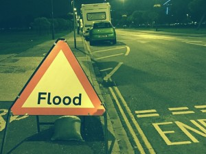 A Flood Warning Sign in Southsea Hampshire from Summer 2015