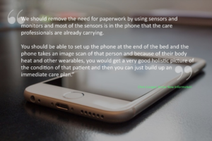 Photo of a smartphone - Chris believes that it should be used to gather holistic data to monitor the health of it's owner