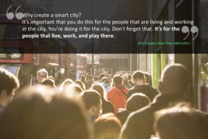 People walking in a smart city