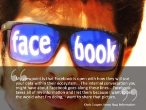 A picture of a man wearing glasses with Facebook on them. Supposed to represent privacy concerns with social media
