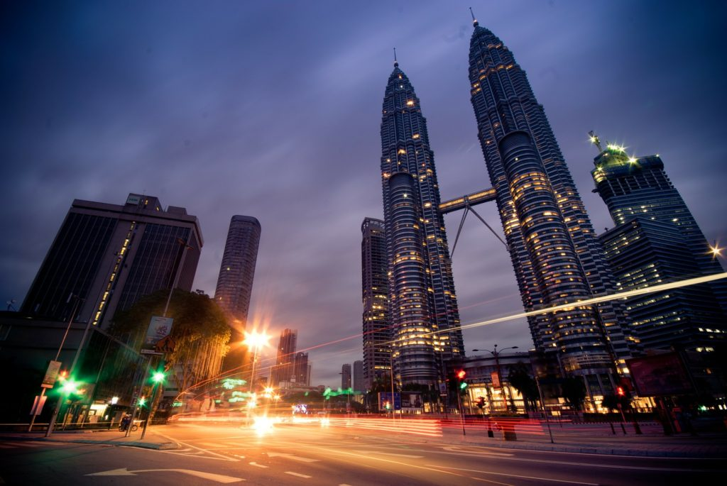 Night photo of Kuala Lumpur's famous Petronas Twin Towers - a must visit for the Malaysia trade mission!