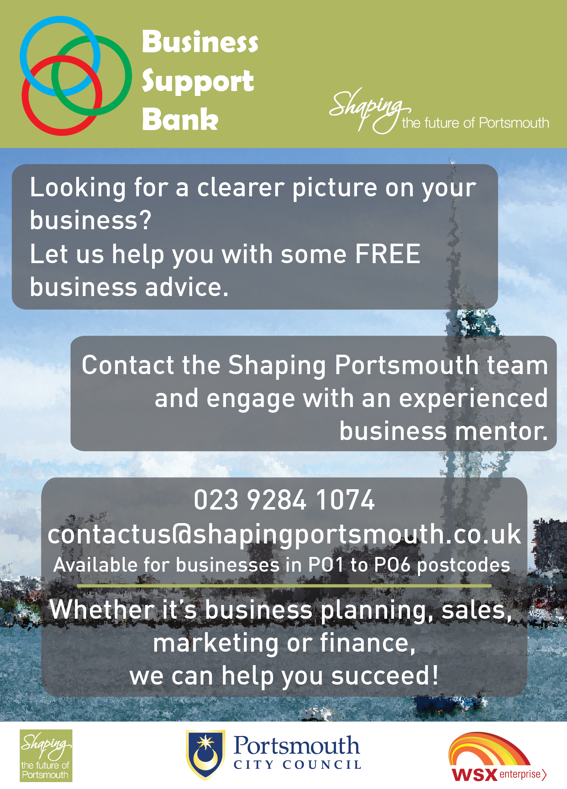 Business Support Bank Flyer - call 02392841074 for further information