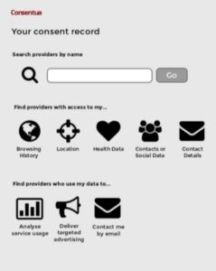 Image of your Consent Record which helps you become your own personal data guardian.