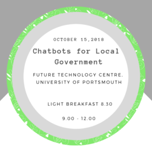Invite we made for the Chatbots event - 15th October at University of Portsmouth