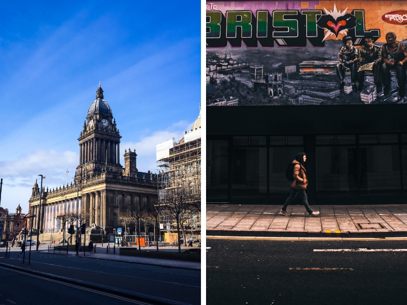 Split photo of Leeds town Hall and Graffiti in Bristol