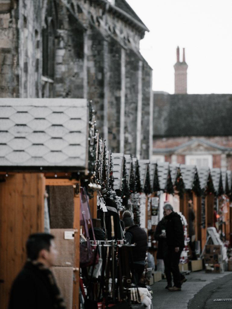 A photo of the Christmas market in Winchester, UK